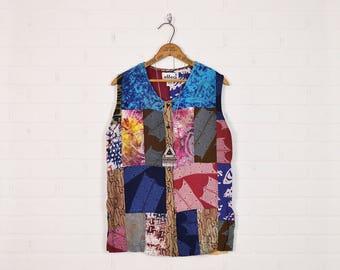 Vintage Patchwork Vest Hippie Vest Hippie Jacket Hippie Shirt Hippie Blouse Hippie Top Boho Vest 70s Vest Quilt Batik Print S Small M Medium