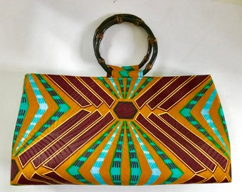 African Print Handbag, Bamboo handle bag