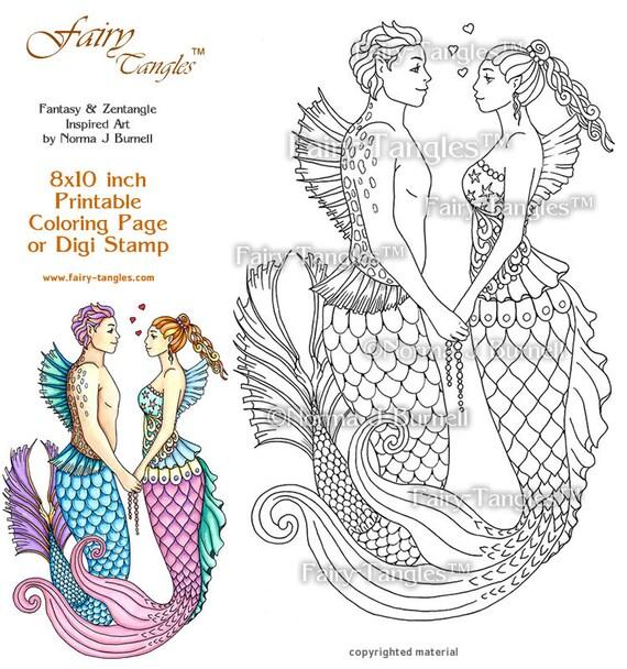 Mer Love Merman and Mermaid Printable Coloring book Sheets