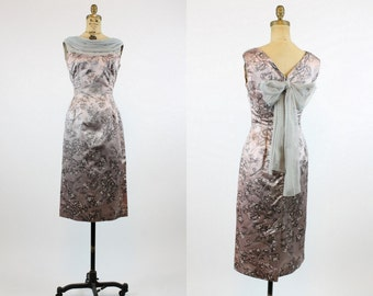 50s Dress XS / 1950s Vintage Dress Asian Brocade Wiggle / Tie The Knot Dress