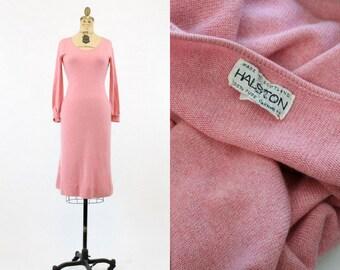 70s Dress Halston XS Small  / 1970s Cashmere Sweater Dress /  Tickled Pink Dress