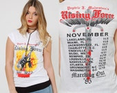 Vintage 80s YNGWIE MALMSTEEN Marching Out Tour T-Shirt Rock Concert Tee Original Tour Shirt