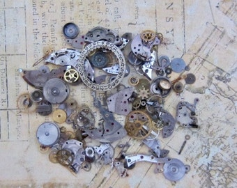 Vintage WATCH PARTS gears - Steampunk parts - L19 Listing is for all the watch parts seen in photos