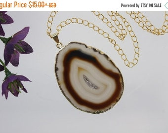 SALE Brown Agate Pendant, Agate Necklace, Agate Slice, Boho Jewelry, Gold Plated Agate, Layered Necklace, Boho Necklace, APS63