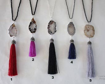 Tassel Necklace with Geode Slice Necklace, Druzy Silver, Double sided, BoHo Necklace, Crystal Necklace, Tassel, Natural, Rock, TASSGEO13