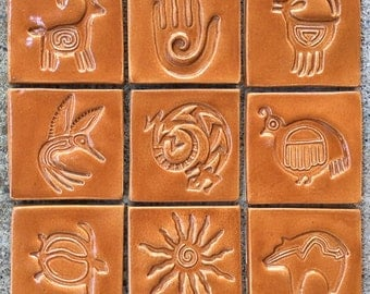 "9 Handmade Petroglyph Accent Tiles -- 4"" Square Decorative Stamped Tiles in Burnt Orange Glaze -- One Square Foot of Art Tile"