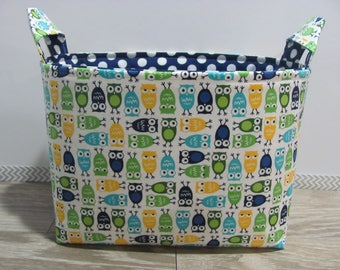 SALE LARGE Fabric Organizer Basket Storage Container Bin Bucket Bag Diaper Holder Home Decor- Size Large - mini owls blue - RTS