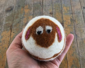 Mahogany Sheep or Lamb , Felted Wool Toy Ball or Sculpture , Large