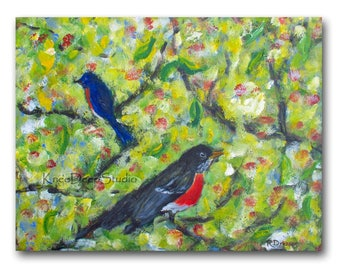 Colorful Birds Painting - Large Wall Decor - Fine Art Acrylic on Canvas - Bluebird Robin Summer Colors - Contemporary Art - Ready to Ship