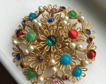 Vintage Layered Rhinestone Pearl and Cabochon Goldtone Filigree Flower Corsage Brooch Pin