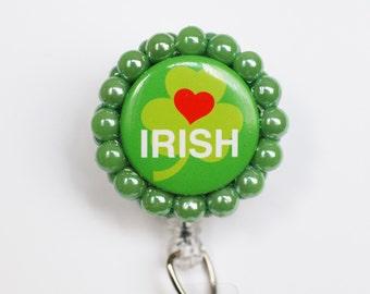 St. Patrick's Day ID Badge Reel - Retractable ID Badge Holder - Zipperedheart