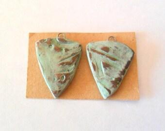 Rustic Green Glazed Terra Cotta Drop Bead Findings Pair