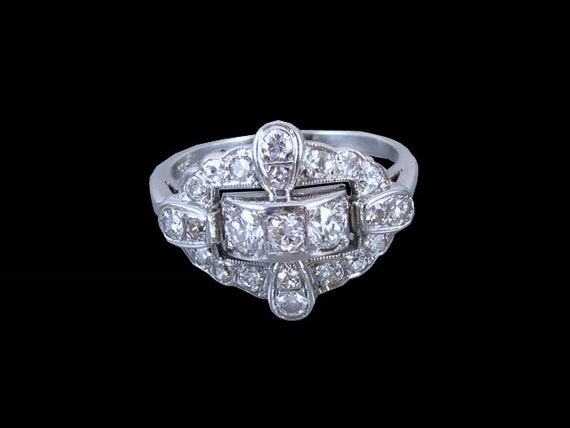 Vintage Art Deco Retro Moderne 14k white gold 1.06 carat diamond ring, size 7-3/4 / wedding ring / anniversary ring / bridal / vintage bride
