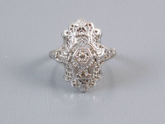 Ornate vintage Art Deco filigree 14k white gold .06 ct diamond ring size 5-1/2