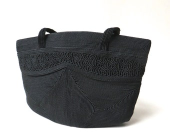 40s vintage Mardane Black Cordé Handbag / Ebony Black Rayon Cordé Fabric Purse