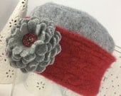 Cashmere Pillbox Hat from Upcycled Felted Sweaters - Gray and Scarlet Red with Flower Brooch Pin