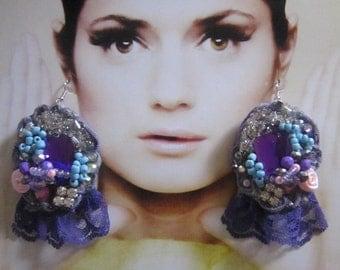 Purple Lace Earrings, Bohemian girl,   Gypsy, Shabby Chic, Tattered, Bohemian  Romantic.