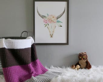 Ready To Ship | Crochet Baby Blanket | Color Block Blanket | Nursery Decor | Baby Blanket | Nursery Bedding | Modern Nursery | Gift Idea