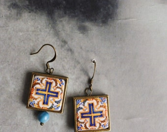 Earrings Portugal Tile Azulejo Portuguese Antique Azulejo - Caldas da Rainha  17th Century  Cross Crusaders- Gift Box Included  878