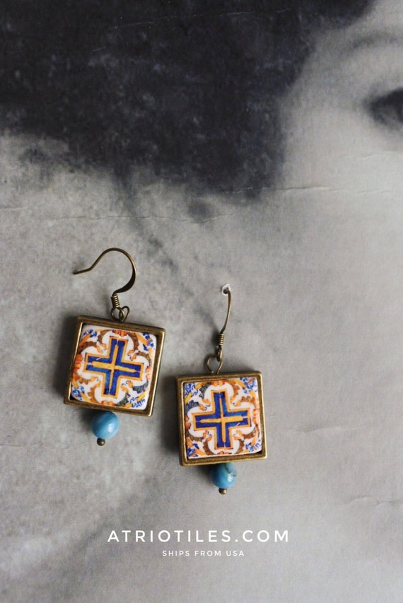 Earrings Portugal Tile Azulejo Portuguese Antique Azulejo - Caldas da Rainha  17th Century  Cross Crusaders- Gift Box Included  878