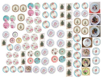 Dollhouse Miniature Shabby Chic Decals 1:12 Scale Plates