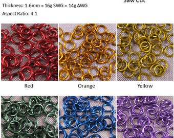 "16g 1/4"" Jump Rings Primary Colors"