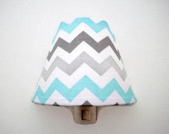 Chevron Night Light - Aqua Grey Nursery Night Light - Boys Nursery Decor - Boys Aqua Grey Bedroom Nightlight - Baby Room Night Light