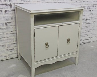 Record Cabinet / Nightstand, Distressed White Cottage Style  - CB1001 Shabby Farmhouse Chic