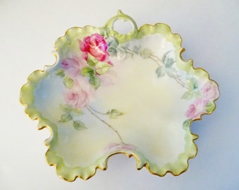 Antique Scalloped Candy Dish Bowl, Hand Painted Pink Roses, Rosenthal Monbijou Germany 1890s to 1906