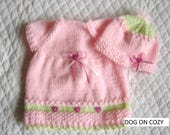 """18"""" Girl Doll Clothes, Waldorf Clothes for 16"""" - 18"""" Doll, Hand Knit Dress and Hat"""