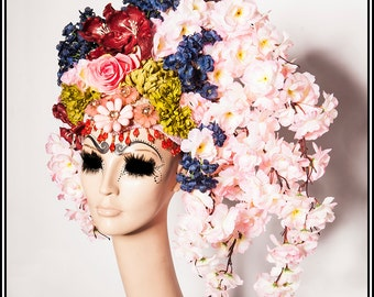 Spring Blossom... Headdress of Flowers Floral Pink Blue Green Geisha Headdress