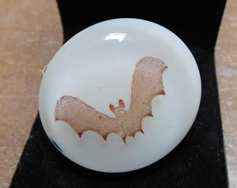 White Fused Glass Bat Adjustable Glass Ring