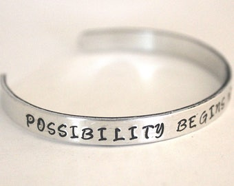 Possibility begins with imagination, Quote Bracelet, Inspirational Jewelry, jewelry with meaning, made in ohio, creative