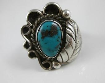 Size 8 Vintage Navajo Sterling Silver Turquoise Leaflet Ring