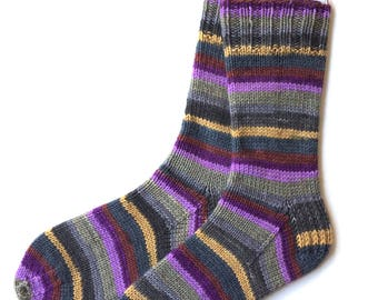 Handknit Socks for Women and Girls, cashmere socks, merino wool socks, purple gold green rust socks, striped socks, DK weight, wool socks