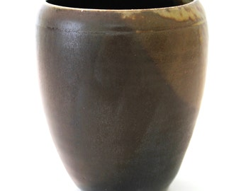 Stoneware Pottery Vase. Medium. Black. Charcoal Gray. Espresso Brown. Earth Tones. Wood Fired. OOAK