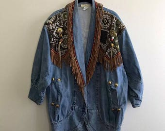 Vintage southwestern denim jacket size small beading, embroidery, leather tassels, fringe