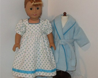"""Aqua Robe and Slippers with Flannel Nightgown, Fits 18"""" Dolls // AG Nightgown Set, American Girl, Slippers, AG Doll Clothes, Sleepwear"""