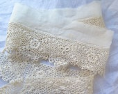 """Antique  Irish Crochet Lace Remnants in Ivory Cotton 26"""" and 20"""" Long"""