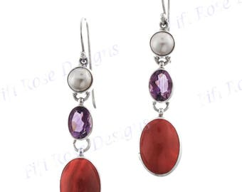 "1 3/8"" Carnelian Amethyst Pearl 925 Sterling Silver Earrings"