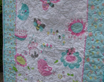 Butterfly Garden Baby Girl Quilt, Flannel Girl Quilt, Flower Quilt, Toddler Quilt