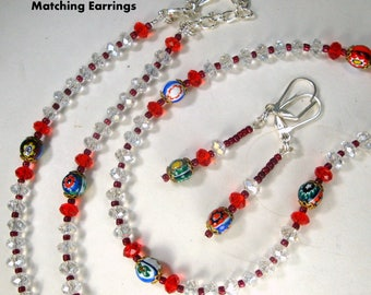 Venetian Murano Glass Bead Long Necklace SET, Italian Colorful Millefiore Beads, Dangle Earrings, Recycled w Clear Glass Beads, Red Spacers