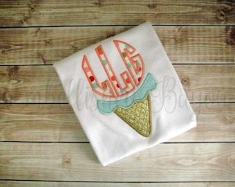 Applique Monogram Ice Cream Cone Ruffle T-shirt for Girls