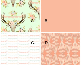 Baby Girl Crib Bedding Set in Peach Coral and Mint Boho Floral Deer Skull and Antlers