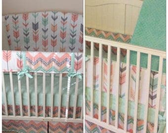 Baby Girl Crib Bedding Complete Nursery Set Coral Mint Peach Gray Arrows with Bumper and Teether