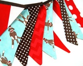 SOCK MONKEY PARTY Decoration, Bunting Banner, Boy's Photography Prop -- red, aqua blue, brown, white monkey -- cloth, fabric flags