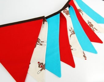 Sock Monkey Bunting Banner Decoration -- Birthday Party, Baby Shower Garland in solid red, aqua blue, cream cloth fabric flags