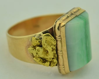 Victorian 22K Nugget & 10K Band Green Apple Jade Ring