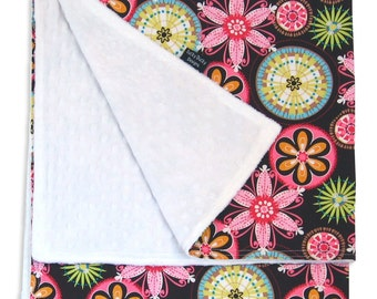 Carnival Bloom Receiving Blanket - Minkee Fabric paired with Designer Cotton Prints