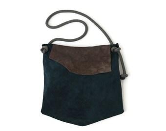 Large Suede Shoulder Bag in Teal. Leather Shopping Bag. Boho Shoulder Bag.  Womens Gift. Gift for Her. Bohemian Bag. -Fresa-